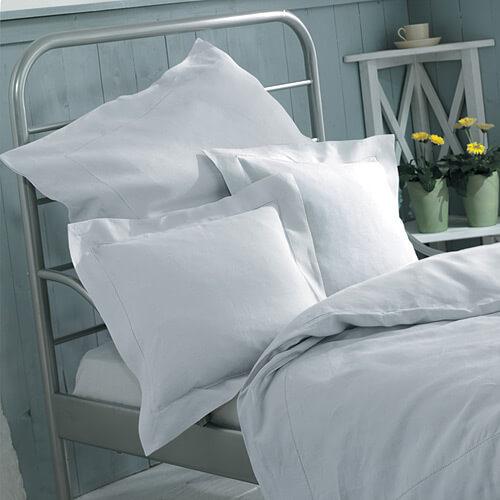 d t hohlsaum leinen bettw sche 135x200 wei landhaus look. Black Bedroom Furniture Sets. Home Design Ideas