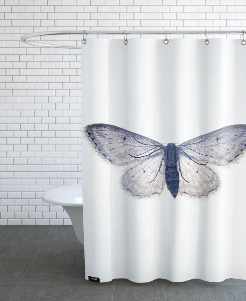 butterfly in blue duschvorhang landhaus look. Black Bedroom Furniture Sets. Home Design Ideas