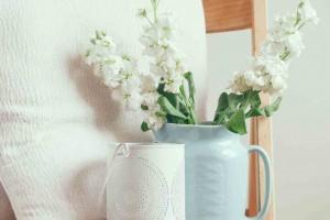 Dekoration im Landhausstil in zarten Aquatönen