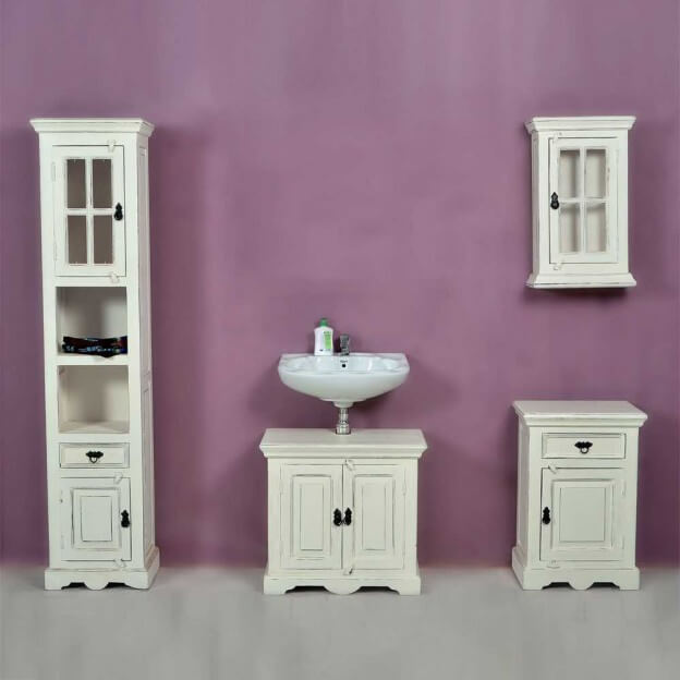 badezimmer komplettset aus mangobaum massivholz shabby. Black Bedroom Furniture Sets. Home Design Ideas