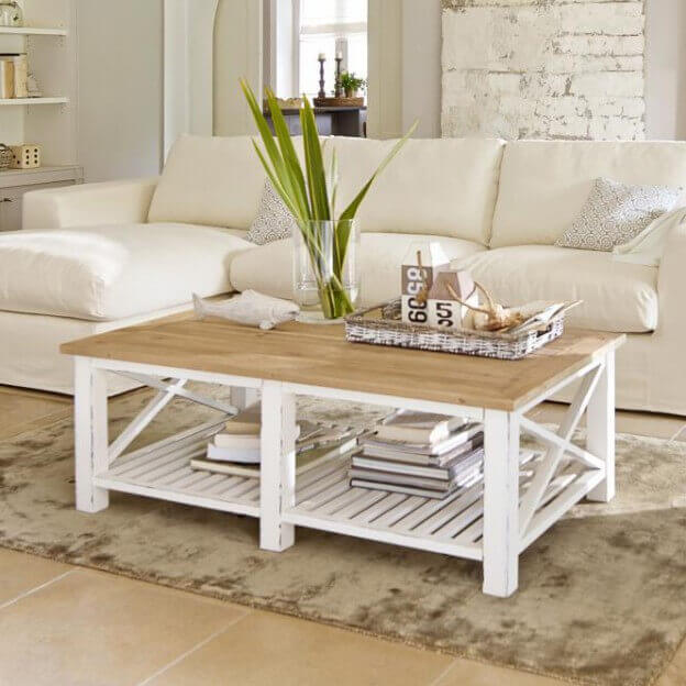 couchtisch medfield landhaus look. Black Bedroom Furniture Sets. Home Design Ideas
