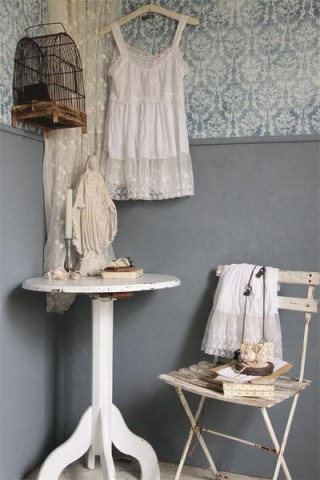 jeanne darc living tapete blau vintage shabby landhaus look. Black Bedroom Furniture Sets. Home Design Ideas