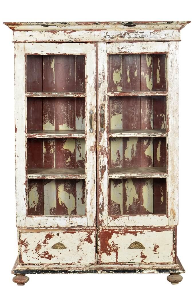 indien 1870 schrank glasvitrine kabinett weiss shabby chic. Black Bedroom Furniture Sets. Home Design Ideas