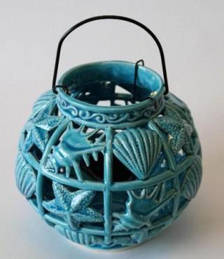 Laterne Windlicht Shells Keramik Türkis