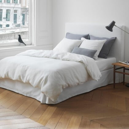 marc o polo leinen bettw sche linen story wei 200x220 cm 2x 80x80 cm landhaus look. Black Bedroom Furniture Sets. Home Design Ideas