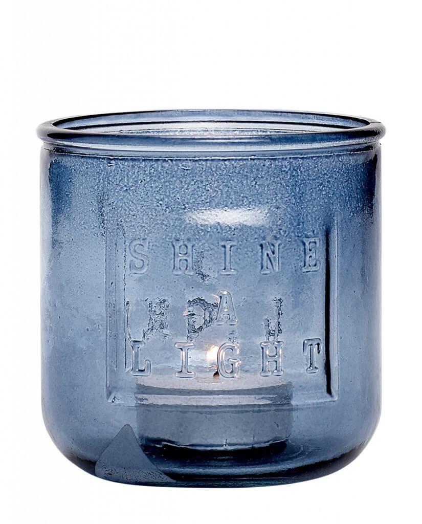 Shades of blue! Teelichtglas mit Typomuster blau