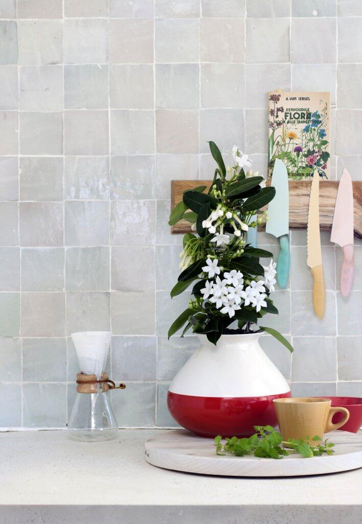 Auch in der Küche setzen weiße Blüten frische Akzente in bunten Tontöpfen
