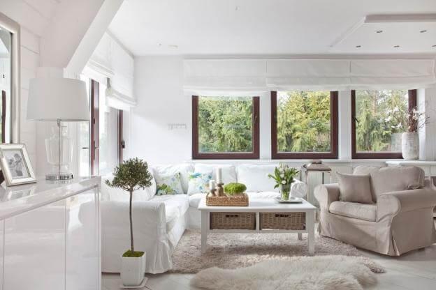 Zeitloser Landhausstil Weiss Trifft Naturtne Wohnzimmer Beige Landhaus